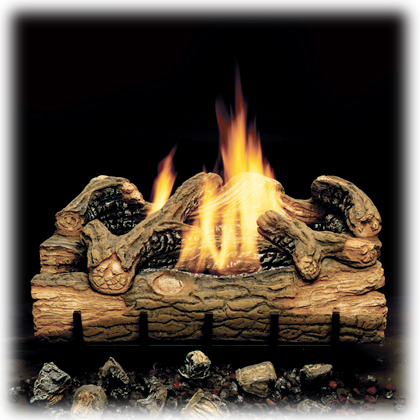 Monessen Charred Hickory Ventless Gas Logs - Remote Ready - 24 inch - Propane