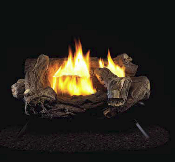 Hearth Master Hickory Ventless Gas Logs - Manual Control - 18 inch ONLY - Natural Gas Only