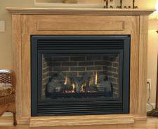 Aria 36 Inch Ventless Gas Fireplace - Remote Ready - with Wall Surround and Hearth