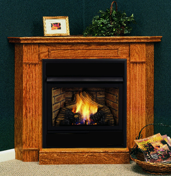 Symphony 32 inch Vent Free Gas Fireplace - Remote Ready - with Corner Surround and Hearth