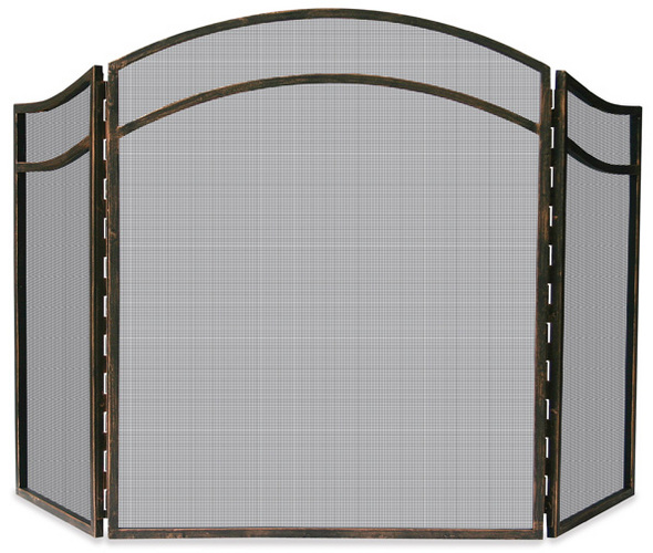 3 Fold Antique Rust Finish Wrought Iron Screen