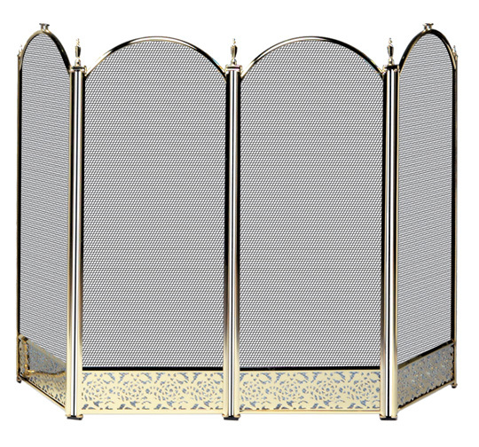 4 Fold Polished Brass Finish Screen with Decorative Filigree