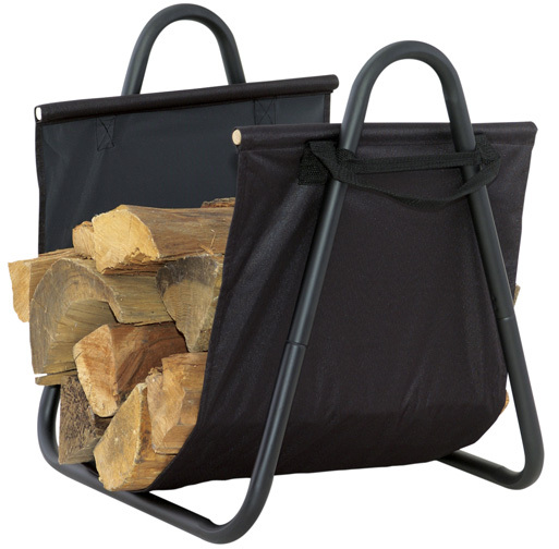 Black Log Holder with Heavy Canvas Carrier