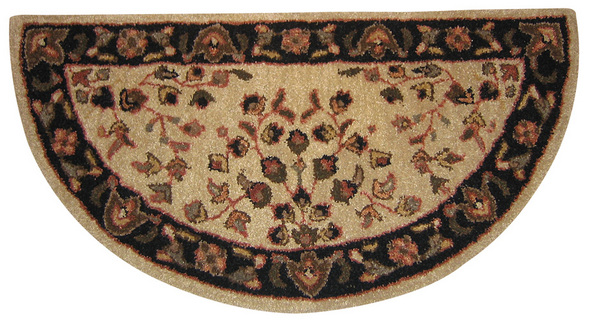 Beige with Black Hand Tufted 100% Wool Rug
