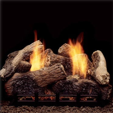 Monessen Berkley Oak ventless gas logs feature a state-of-the-art loose  ember burner with a large ember bed and dancing yellow flames. Available in 18 inch (NB18NV-BO)
