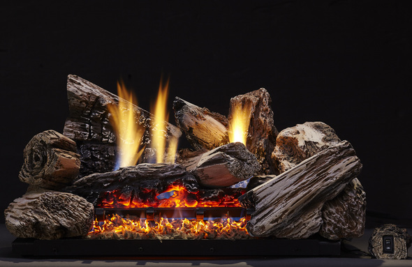Monessen Moxie Ventless Gas Logs - Remote Ready - 18, 24 or 30 inch - Natural Gas