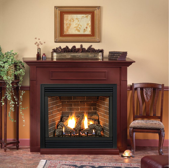 Tahoe Deluxe 32 Direct Vent Gas Fireplace (Remote Ready) with Hearth and Wall Surround