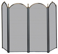 4 Fold Antique Brass & Black Finish Screen
