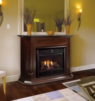 Chesapeake 24 inch Vent Free Gas Fireplace - Remote Ready - with Wall Surround and Hearth